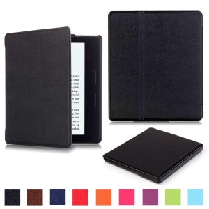 Litchi Grain Smart Leather Flip Case for Amazon Kindle Oasis - Black