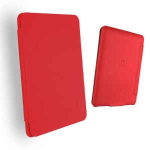 LENUO Ledream Litchi Grain Slim Leather Flip Cover for Amazon Kindle Paperwhite 3/2/1 - Red