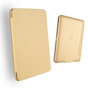LENUO Ledream Litchi Grain Slim Leather Protective Case for Amazon Kindle Paperwhite 3/2/1 - Gold