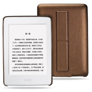 LENUO Lucky Series Bracket Leather Skin Protective Case for Amazon Kindle Paperwhite 3/2/1 - Brown