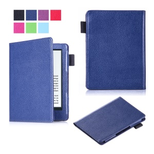 Litchi Texture Slim Leather Flip Protector Cover for Amazon New Kindle 2016 - Dark Blue