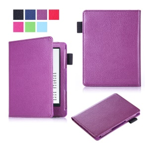 Litchi Texture Slim Leather Flip Shell Cover for Amazon New Kindle 2016 - Purple
