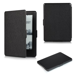 Cross Texture Slim Smart Leather Case for Amazon All-New Kindle - Black