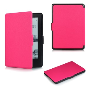 Cross Texture Slim Smart Leather Shell for Amazon All-New Kindle - Rose