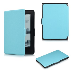 Cross Texture Slim Leather Flip Case for Amazon All-New Kindle 2016 - Baby Blue