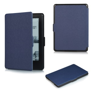 Cross Texture Slim Leather Flip Cover for Amazon All-New Kindle E-reader - Dark Blue