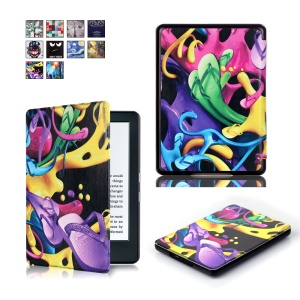 Pattern Printing Smart Leather Flip Protective Shell for Amazon All-new Kindle (2016) - Colorful Slippers