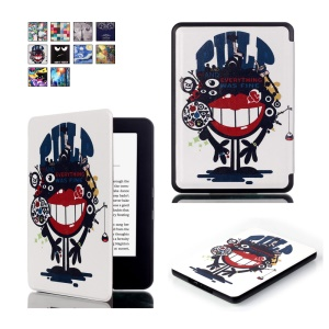 Pattern Printing Smart Leather Flip Cover Case for Amazon All-new Kindle (2016) - Monster with Big Mouth