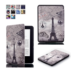 Pattern Printing Smart Leather Flip Shell Cover for Amazon All-new Kindle (2016) - Eiffel Tower and World Map