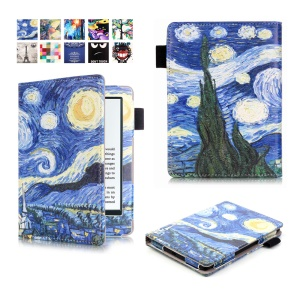 Printed Leather All-wrapped Smart Shell for Amazon Kindle (2016) - Starry Sky