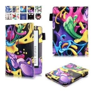 Printed Leather Smart Flip Shell for Amazon Kindle (2016) - Slippers