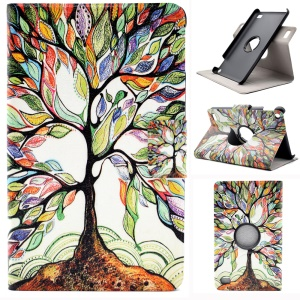 Pattern Printing Rotary Stand Leather Card Slots Shell for Amazon Fire 7 (2015) - Colorized Tree
