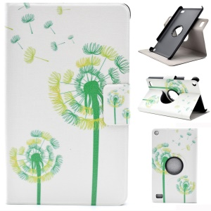 Patterned Card Holder Leather Rotary Stand Tablet Cover for Amazon Fire 7 (2015) - Dandelions