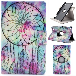 Patterned Rotary Stand Leather Protective Cover with Card Slots for Amazon Fire 7 (2015) - Dream Catcher
