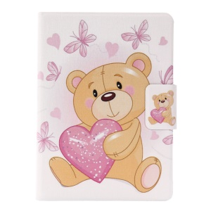 Smart Leather Stand Cover with Card Slots for Amazon Kindle (2016) - Adorable Bear Holding a Love Heart