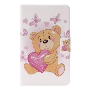 Patterned Leather Card Holder Case with Rotating Stand for Amazon Fire 7 (2015) - Lovely Bear