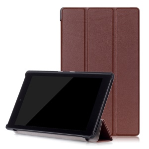 Tri-fold PU Leather Smart Case with Stand for Amazon Fire HD 8 (2016) - Brown