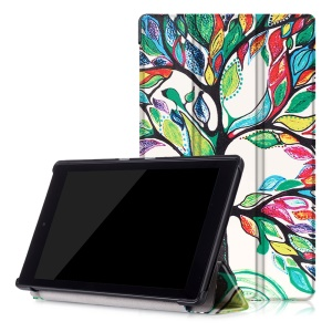 Pattern Printing Tri-fold Stand Leather Case for Amazon Fire HD 8 (2016) - Colored Tree Painting