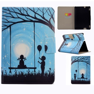 For Amazon Kindle Fire HDX 7 Fragrant Stylish Patterned Bracket Case with Card Slot - Swing Girl and Boy with Balloon