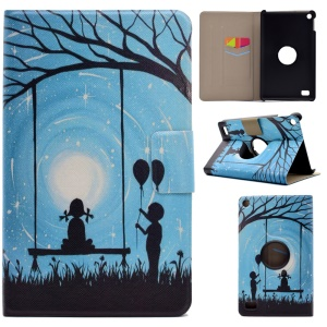 For Amazon Kindle Fire HD 7 Fragrant Patterned Rotary Stand Case with Card Slots - Girl and Boy Playing