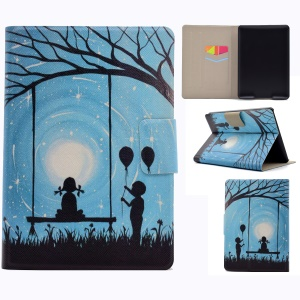 For Amazon Kindle Paperwhite 3/2/1 Pattern Printing PU Leather Stand Case with Card Slots - Girl and Boy Playing