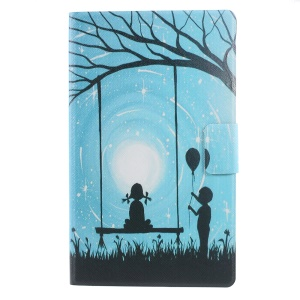 Pattern Printing Leather Stand Case for Amazon Kindle 8th Generation 2016 - Girl on a Swing