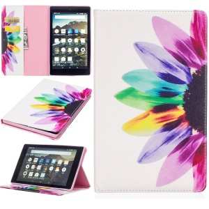 Pattern Printing Leather Wallet Case for Amazon Fire HD 8 (2016) - Colorful Petals