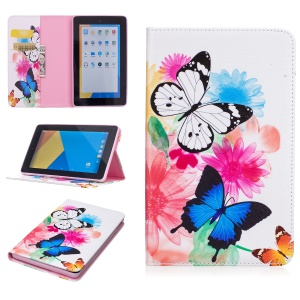 Pattern Printing Wallet Leather Stand Shell for Amazon Fire 7 (2015) - Vivid Butterflies