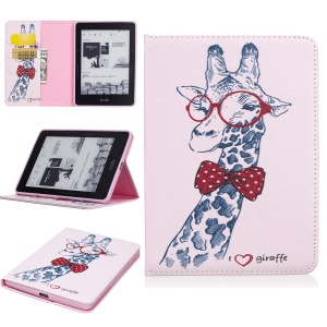 Patterned Wallet Leather Stand Case for Amazon Kindle Voyage - Adorable Giraffe Wearing Glasses