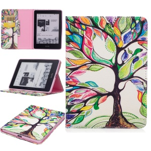 Pattern Printing Leather Wallet Flip Case for Amazon Kindle Voyage - Colorized Tree