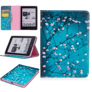Pattern Printing Leather Wallet Tablet Case for Amazon Kindle Voyage - Tree with Flowers