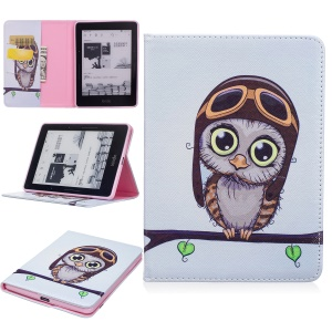 For Amazon Kindle Voyage Pattern Printing Leather Wallet Protective Cover - Adorable Owl