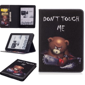 Patterned Wallet Leather Folio Case with Stand for Amazon Kindle Voyage - Brown Bear and Warning Words