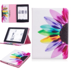 Pattern Printing Leather Wallet Phone Case Stand for Amazon Kindle Paperwhite 3/2/1 - Colorful Petals
