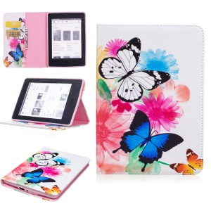 Pattern Printing Wallet Leather Stand Case for Amazon Kindle Paperwhite 3/2/1 - Vivid Butterflies