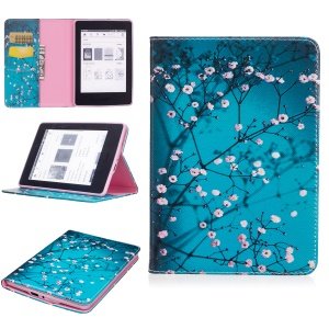 Pattern Printing Leather Wallet Tablet Cover for Amazon Kindle Paperwhite 3/2/1 - Tree with Flowers