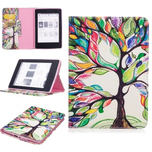 Pattern Printing Leather Wallet Flip Cover for Amazon Kindle Paperwhite 3/2/1 - Colorized Tree