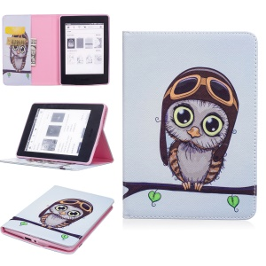 For Amazon Kindle Paperwhite 3/2/1 Pattern Printing Leather Wallet Protective Case - Adorable Owl