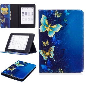 Pattern Printing Leather Wallet Flip Shell for Amazon Kindle Paperwhite 3/2/1 - Elegant Butterflies