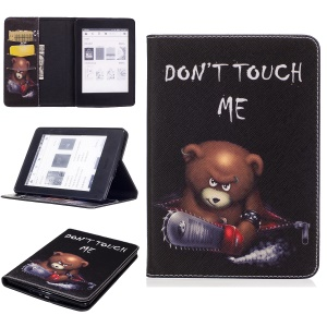 Patterned Wallet Leather Folio Case for Amazon Kindle Paperwhite 3/2/1 - Brown Bear and Warning Words