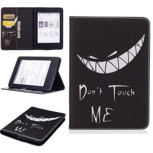Patterned Leather Wallet Tablet Shell for Amazon Kindle Paperwhite 3/2/1 - Do Not Touch Me