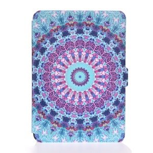 Patterned Leather Wallet Case for Amazon Kindle Paperwhite 3/2/1 - Cyan and Purple Bohemia Pattern