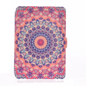 Patterned Leather Wallet Stand Case for Amazon Kindle Paperwhite 3/2/1 - Orange and Black Bohemia Pattern
