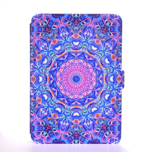 Leather Wallet Patterned Case for Amazon Kindle Paperwhite 3/2/1 - Purple and Blue Bohemia Pattern