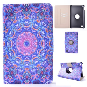 Leather Patterned Protective Case with Card Slot for Amazon Fire 7 (2015) - Purple and Blue Bohemia Pattern