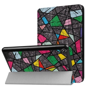 For Amazon Fire 7 2017 Patterned Leather Tri-fold Stand Tablet Case - Colorful Checks