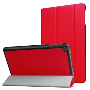 For Amazon All-New Fire HD 8 (2017) Litchi Texture Tri-fold Flip Stand Leather Shell - Red