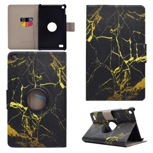 Pattern Printing PU Leather Swivel Stand Flip Case with Card Slots for Amazon Fire 7 (2015) -  Gold Marble Pattern