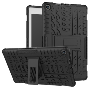 2-in-1 Tyre Pattern Kickstand PC + TPU Hybrid Phone Case for Amazon Fire HD 8 (2017) - Black