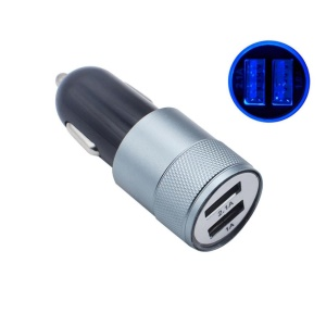 DC12V / 24V 2.1A 1A 2-Port Universal USB Car Charger Adapter for iPhone iPad Samsung - Grey